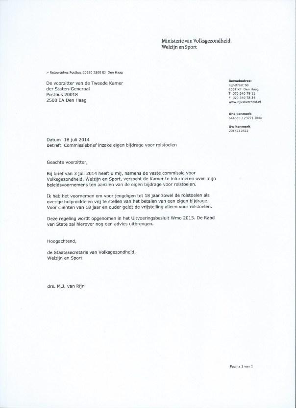 Eigen bijdrage rolstoel. Brief Staatssecretaris Martin van Rijn.