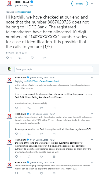 HDFC Bank's long but templated social media customer care response
