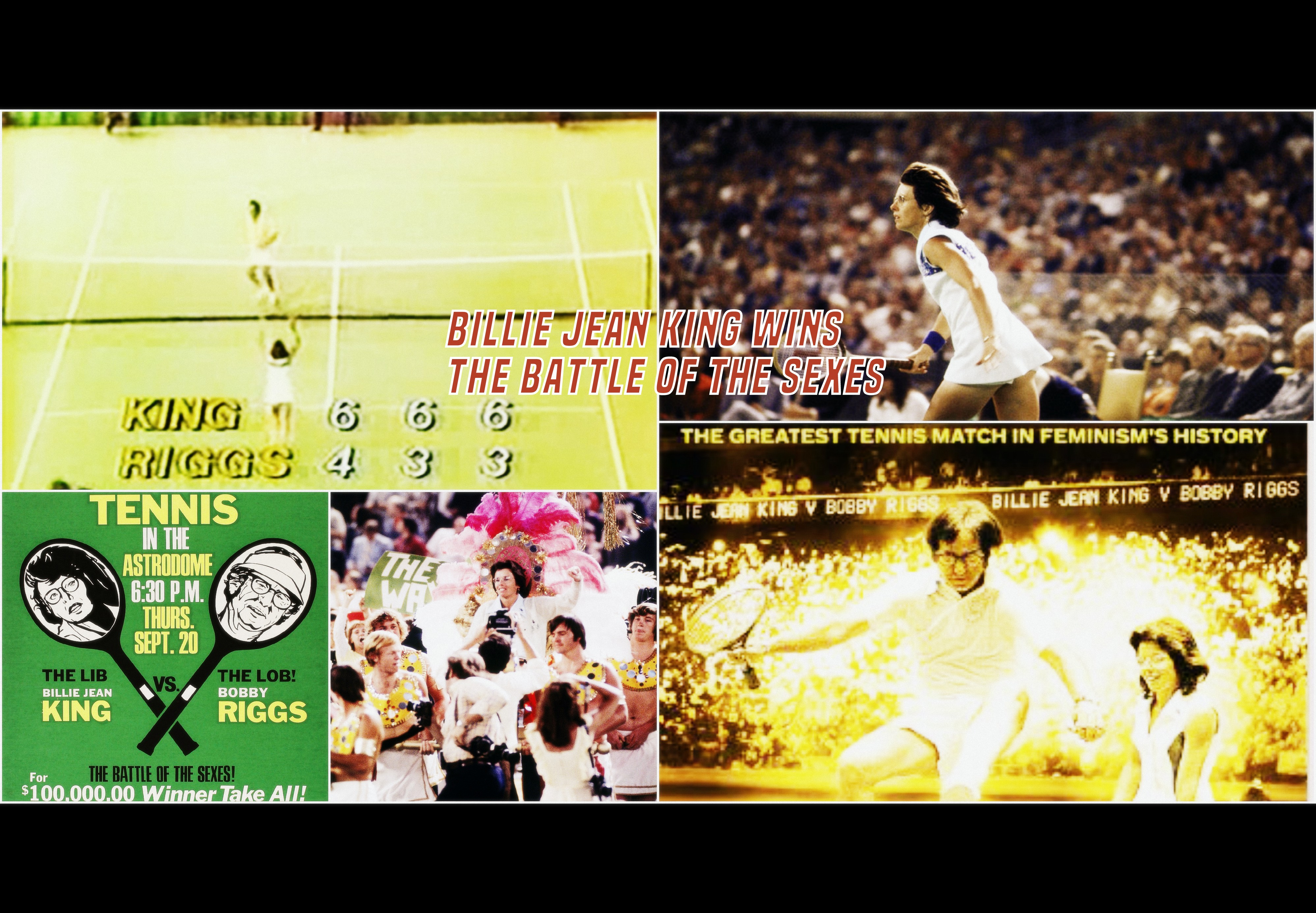 Sept-20-1973:  Billie Jean King Wins The Battle of the Sexes