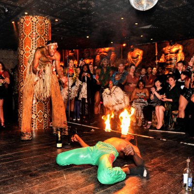 Limbo Dancers performing with fire