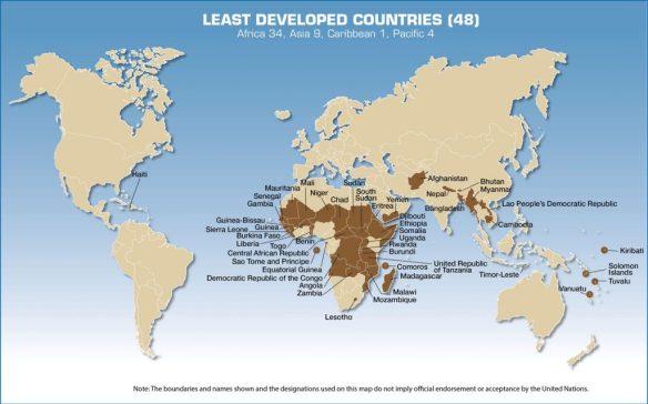 UN's list of Least Developed Countries (LDCs)