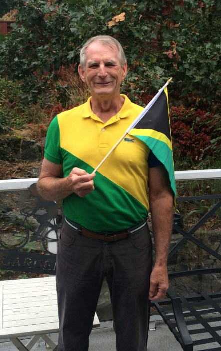 Dad wearing & waving the flag
