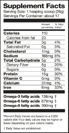 Chocolate Raw Vegan Protein Powder Nutritional Facts