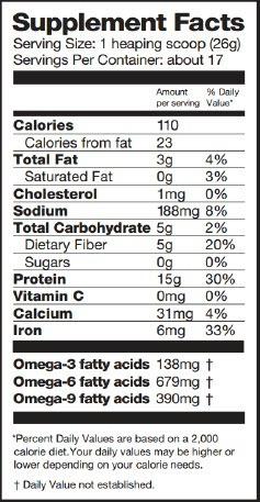 Chocolate Raw Vegan Protein Powder Nutritional Facts