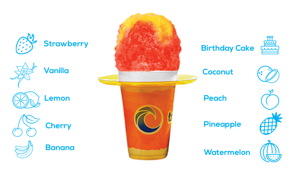 AN ORANGE, AND YELLOW SNOW CONE IN A FLORAL ORANGE CUP, WITH ICONS AND LIST OF FLAVORS AROUND IT
