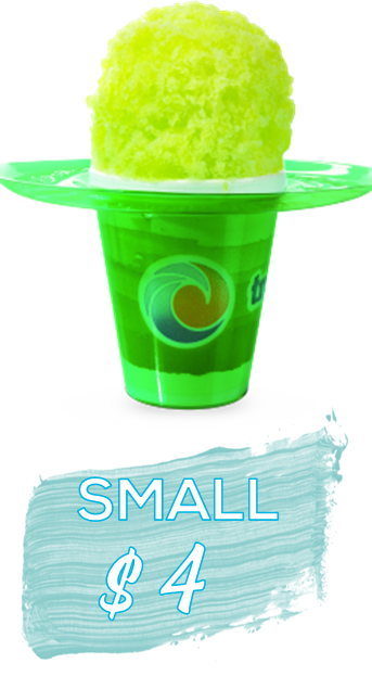 small sno in a green flower cup, bright green shaved ice. Says SMALL $4