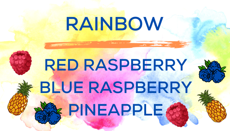 Shaved Ice Flavors-Tropical Sno Peoria-RAINBOW- ripe red raspberry, tart blue raspberry, fresh pineapple