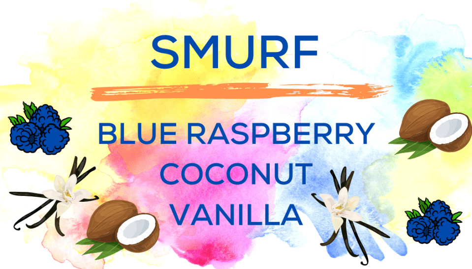 Shaved Ice Flavors-Tropical Sno Peoria-SMURF- tart blue raspberry, creamy coconut, sweet vanilla