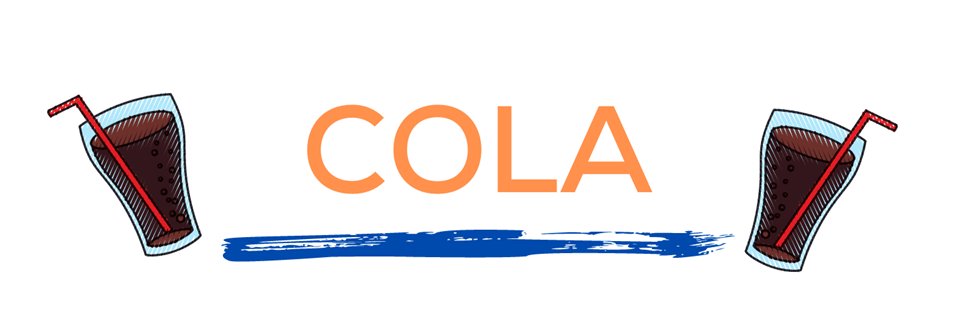The word cola in orange over a blue paint line with soda cups on either side. This page displays flavor combinations made with Tropical Sno Peoria's crisp cola flavor.