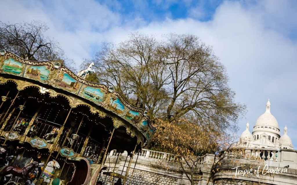 Merry go round at Sacre Coeur in Montmartre, Paris