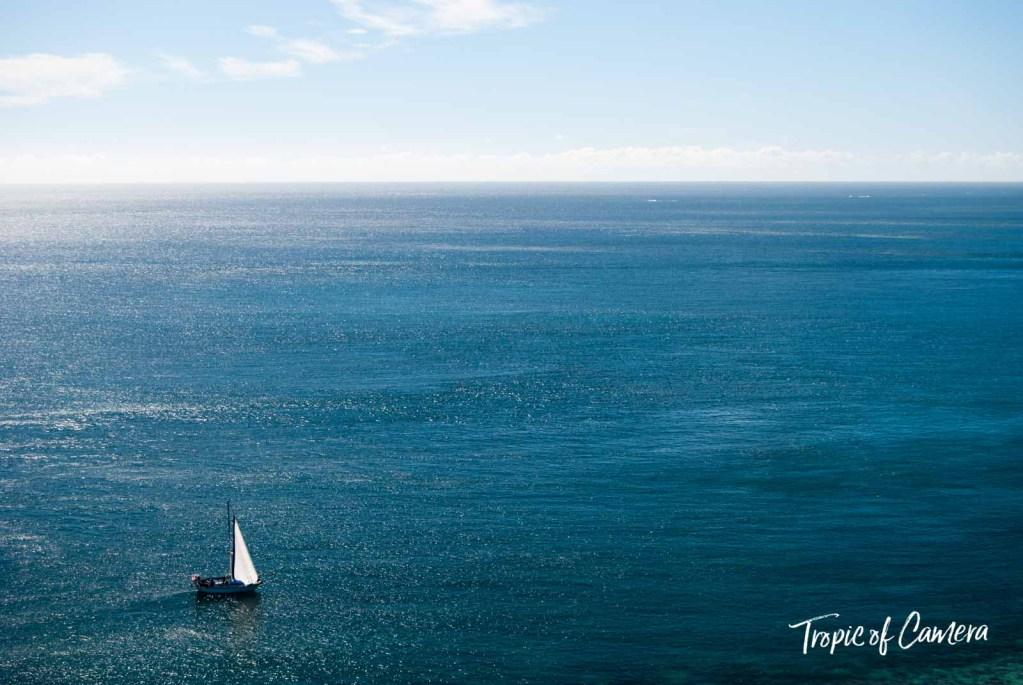 Boat against the ocean in Fiji