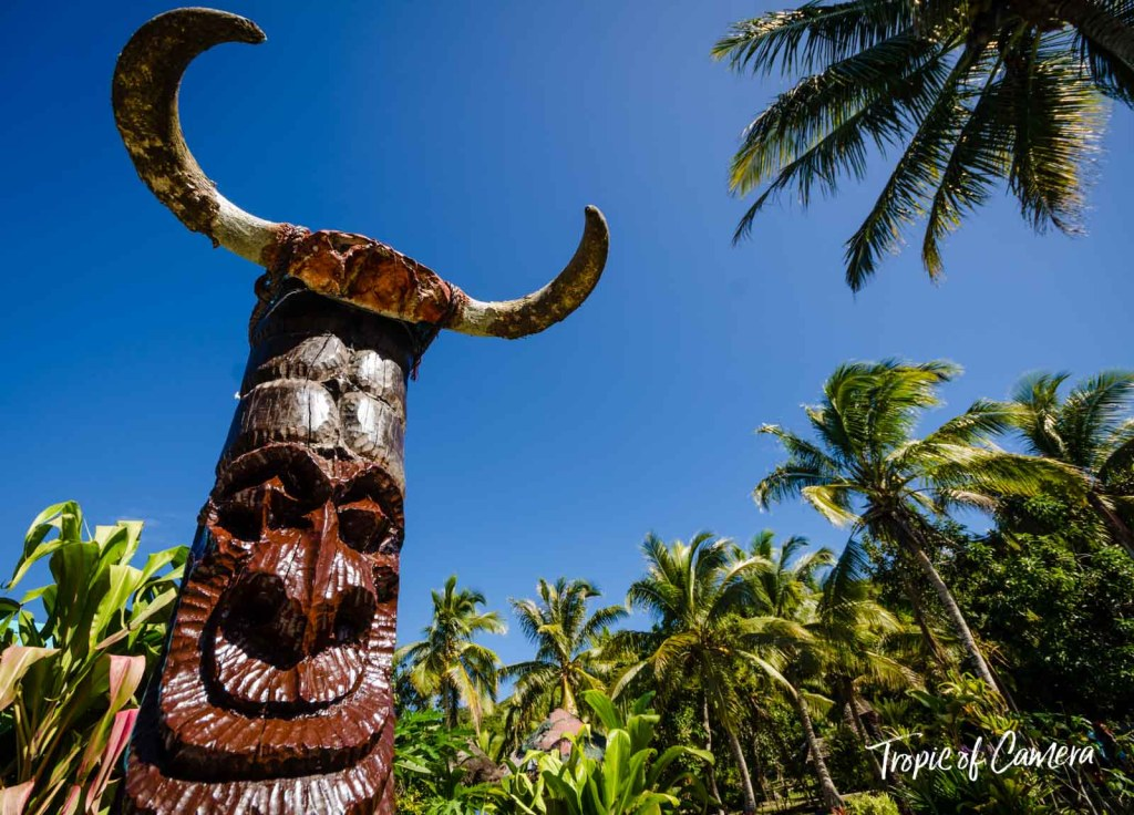 Carved wooden totem in New Caledonia