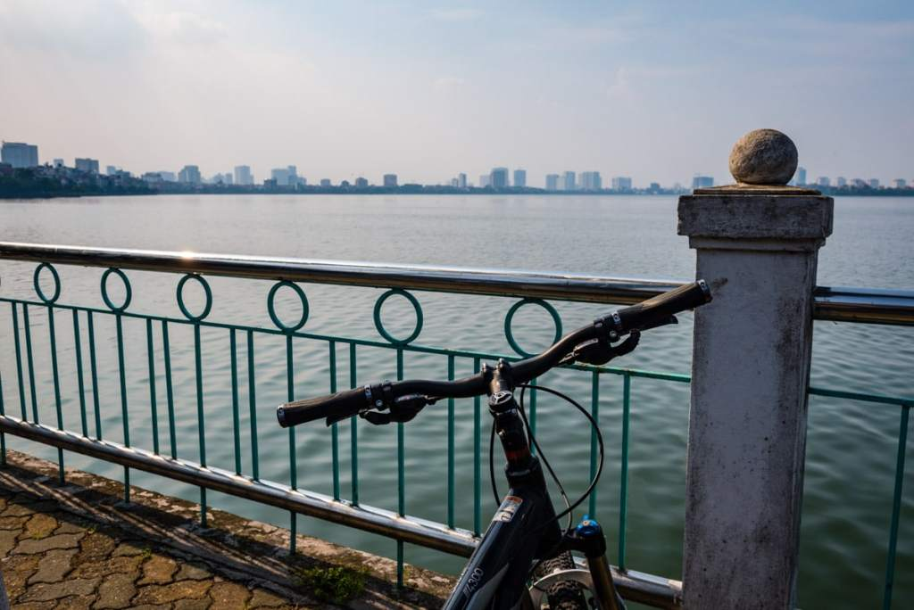 Cycling around the West Lake in Hanoi