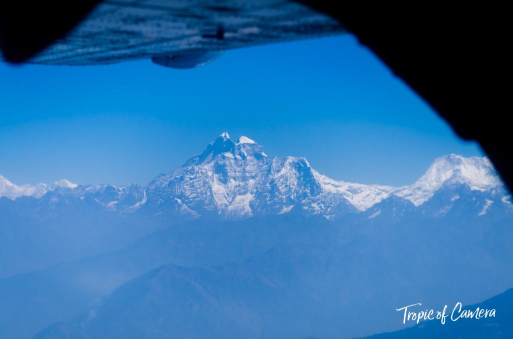 View from the plane flying in the Himalayas, Nepal