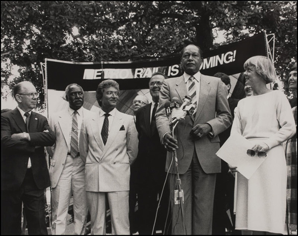 Kenneth Hahn, Nate Holden, Nick Patsaouras, Deane Dana, Mayor Tom Bradley. Metro Rail Groundbreaking, September 29, 1986 | Photo: Metro Library and Archive/Flickr/Creative Commons