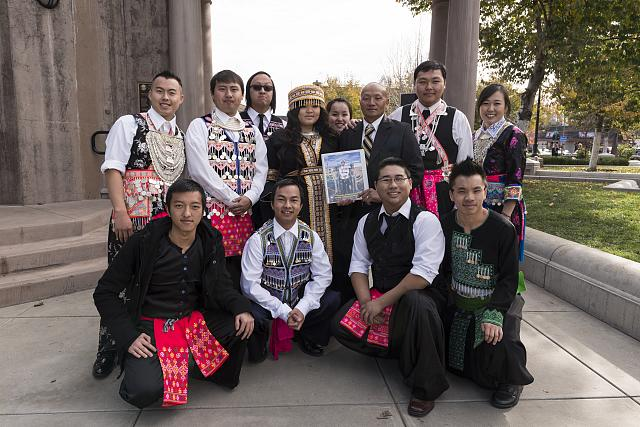 Some of the hundreds of participants at the 10th-annual Hmong New Year Celebration in downtown Chico, California, pose; The Jon B. Lovelace Collection of California Photographs in Carol M. Highsmith's America Project, Library of Congress, Prints and Photographs Division