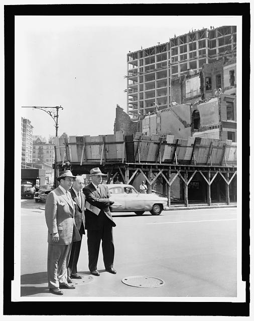 """Walter Albertin, """"Mayor Robert Wagner (r) joined by Robert Moses (l) and Frank Meistrell (c) on a housing project tour, August 9, 1956, New York World Telegraph and Sun Collection, Prints and Photographs Division, Library of Congress"""