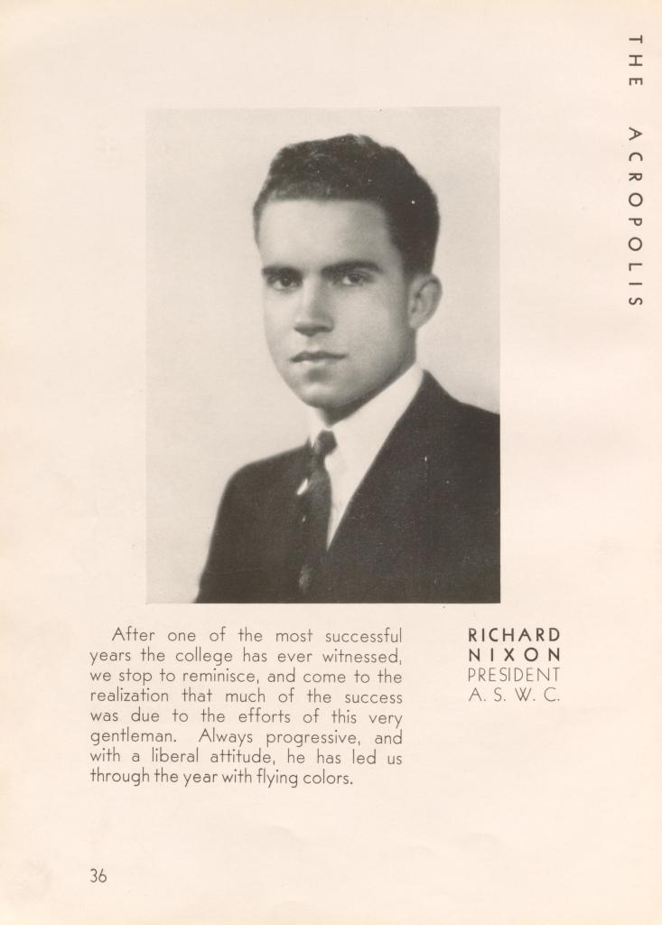 Nixon President of Whittier College Student Government; Acropolis, 1934, Joseph and Stewart Alsop, Manuscript Division, Library of Congress