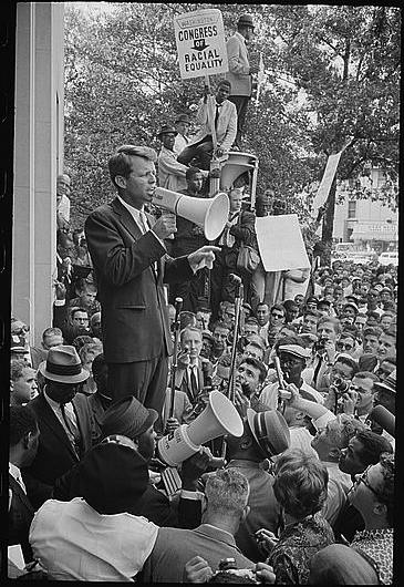 """Warren K. Leffler, """"Negro demonstration in Washington, D.C. Justice Dept. Bobby Kennedy speaking to crowd"""", Prints and Photographs Division, Library of Congress"""