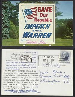 "Postcard, ""Save Our Republic: Impeach Earl Warren,"", October 17, 1966, Hugo L. Black Papers, Manuscript Division, Library of Congress"