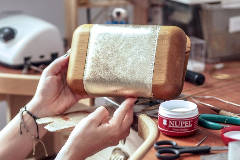 Wooden Clutch with Gold leather