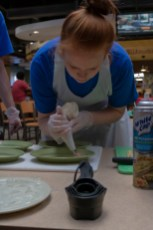 Students often had to get creative. Pineapple Perfection made a piping bag from a rubber glove.