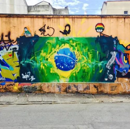 brazilian flag graffitti rio de janeiro brazil