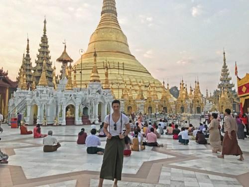 Sunrise Shwedagon Pagoda Yangon Myanmar