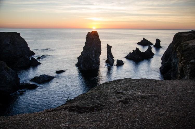 coucher de soleil aiguilles de port coton belle île