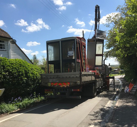 BT box being removed in Trottiscliffe