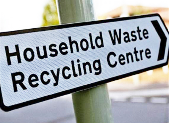Household waste and recycling centre sign