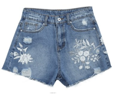 short denim motif floral brodé