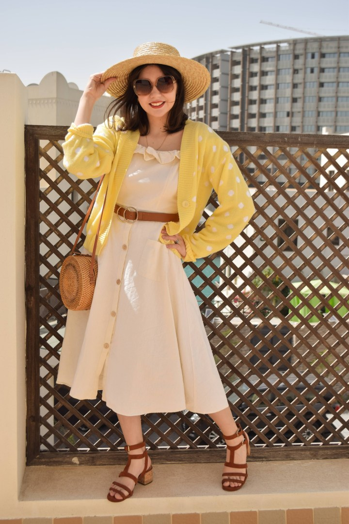 A yellow cardigan for spring.