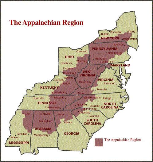 La chaîne des Appalaches. Source: University of Michigan