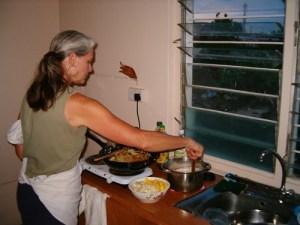 Cookie cooking dinner