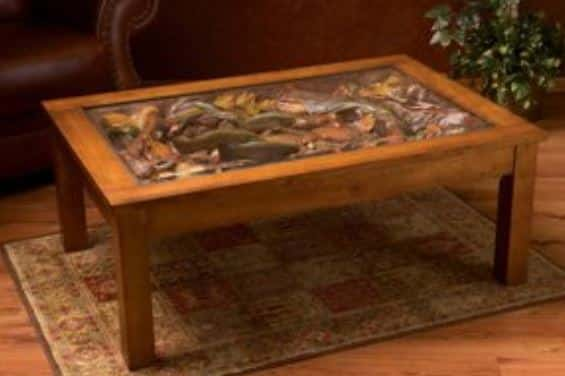 trout coffee table hand carved scene of a stream bottom