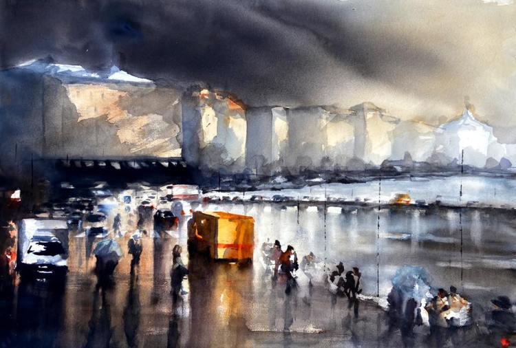 Akvarellmålning urban miljö stockholm med Grand hotel