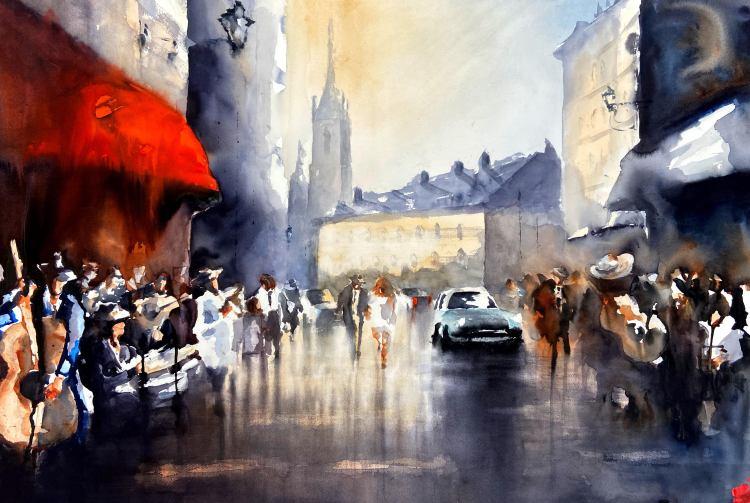 Akvarellmålning urban miljö stockholm