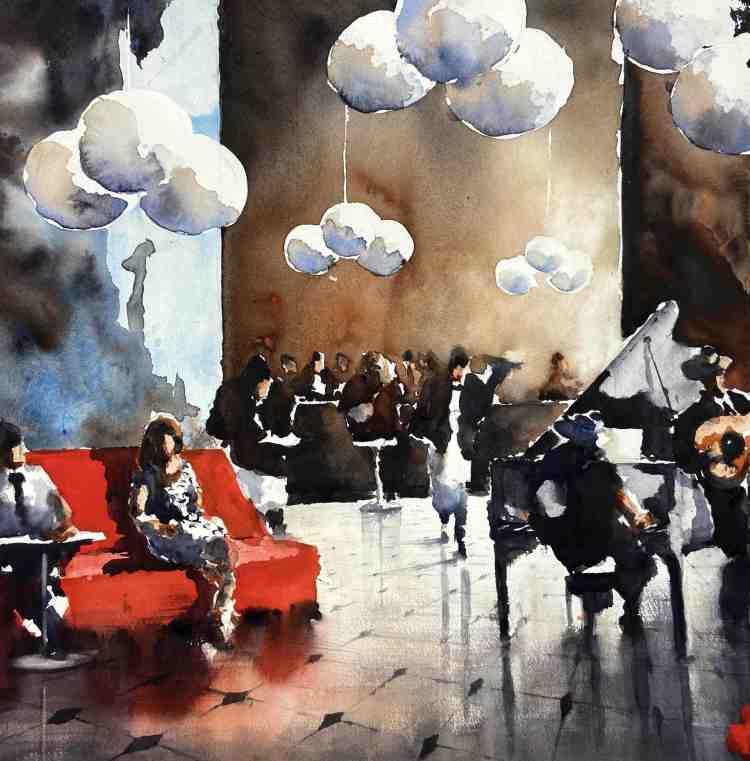 Akvarellmålning i restaurangmiljö