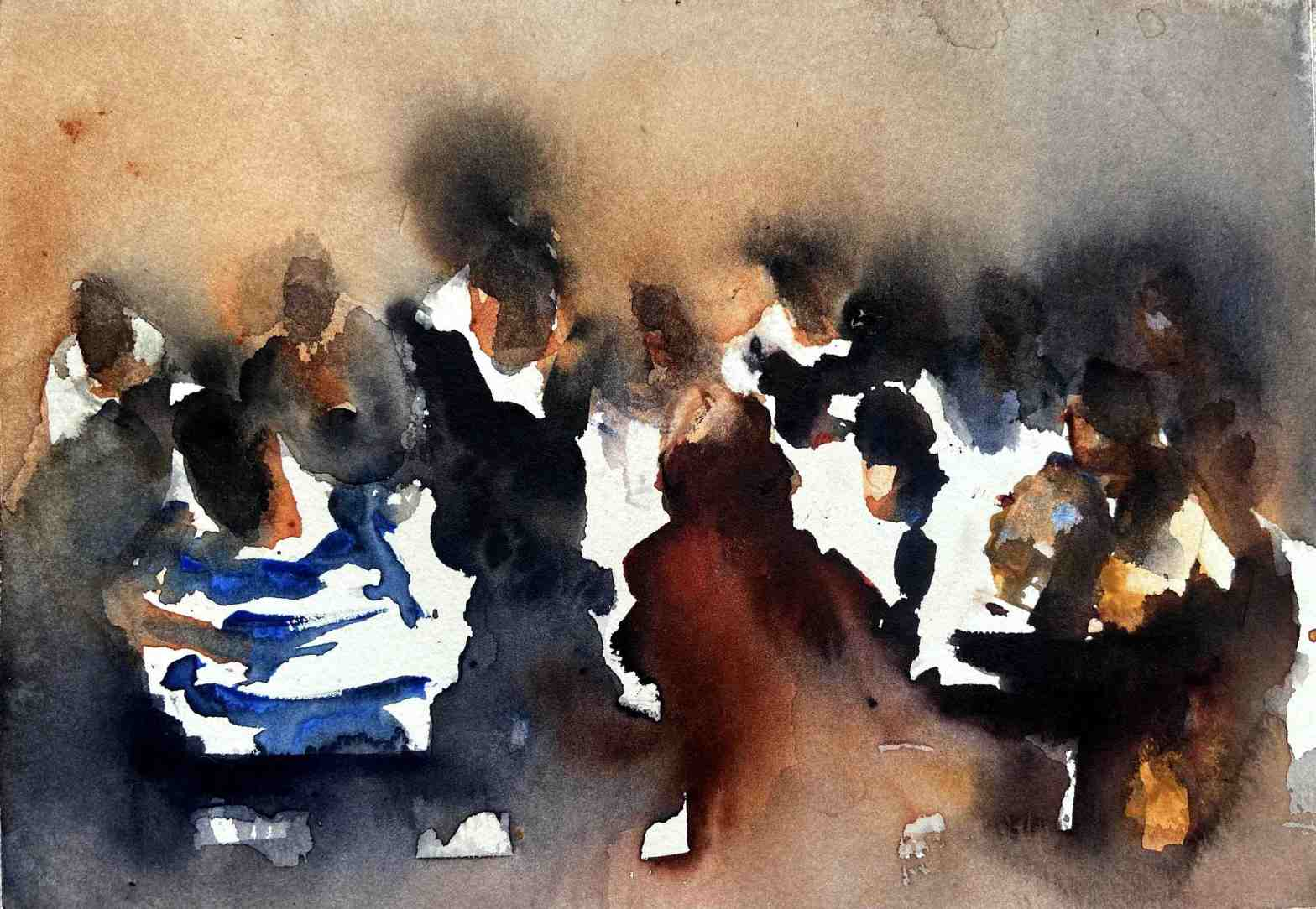 En akvarellmålning med sittande människor i restaurangmiljö