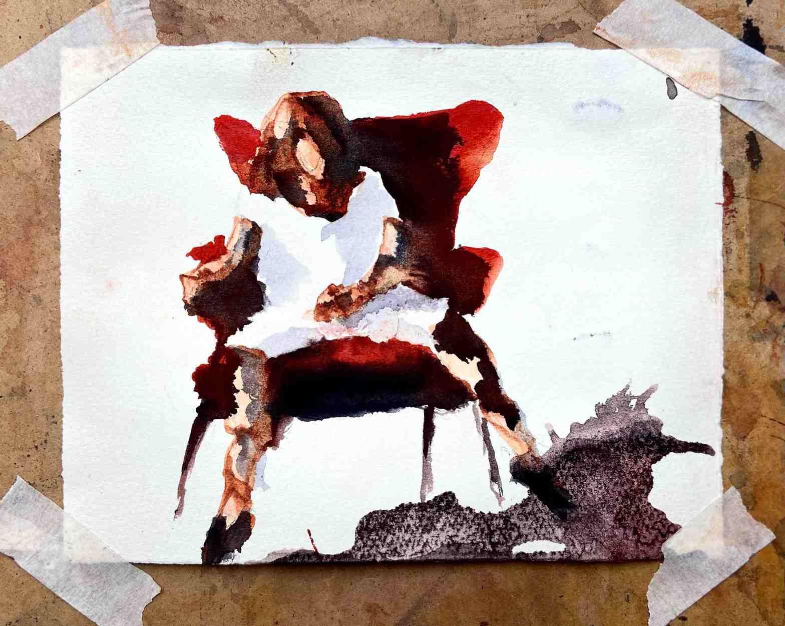 En målning av en kvinna med särade ben i en så kallad womanspread