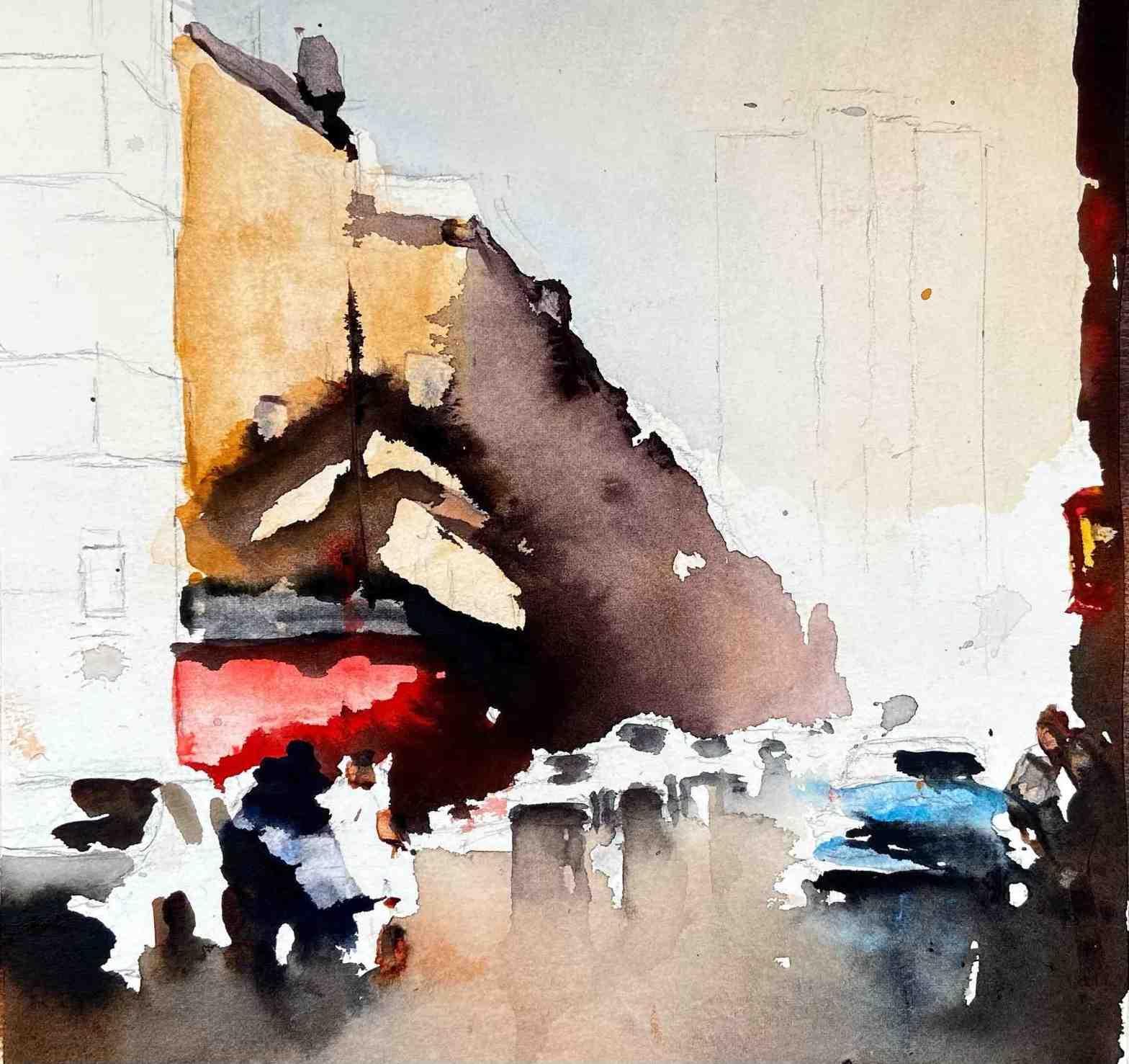 stadsmotiv i akvarell med bilar, människor och byggnader
