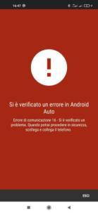 Errore 16 in Android Auto cosa vuol dire