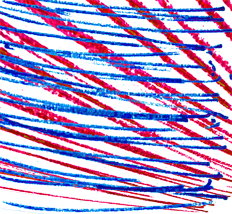 lines and layers - red and blue
