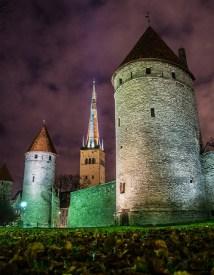 Kuldjala and Nunna towers, spire of St Olaf's Church, Tornide väljak, Tallinn Estonia