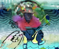 Fine art. Digital painting. churning water, fighting monster, raging sea battle on sea shore. Art created on computer. hot pink. cartoon illustration