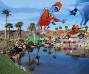 Fine art. Digital painting. Computer art. This is a fine art digital painting. Created by pushing pixels in Adobe Photoshop and Illustrator. Its a surreal scene showcasing Hungry Ghost in Scarlet Fez, matching jacket and Knickers Mowing Desert with Magic and Lawn Mower. Grass green, fragmented tall palm trees electric mower wiht sparks, sky blue, sand, scarlet. Fine art by Troy Eittreim modern art funny, clever, witty, intelligent showing technology influence on environment. mystic hand gestures, drones. Digital collage. Computer art. Showcased in Karpeles Museum and FSCJ (Florida State Community College) Kent Campus.