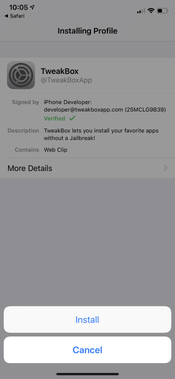 click install again