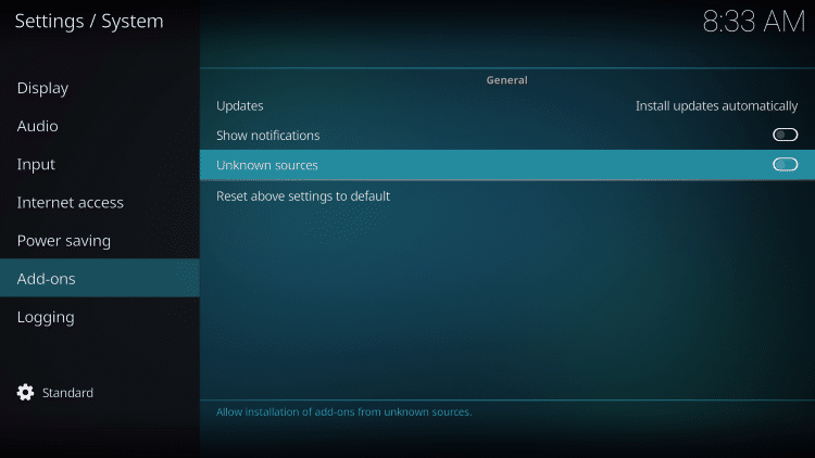 Kodi download settings