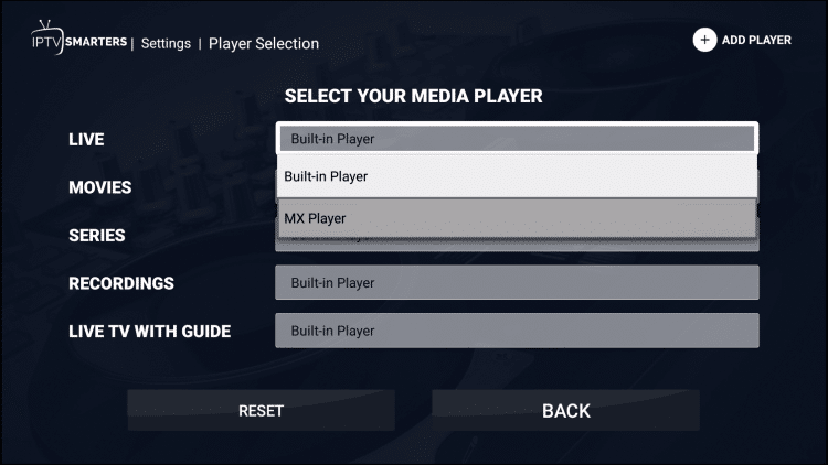 change player to mx